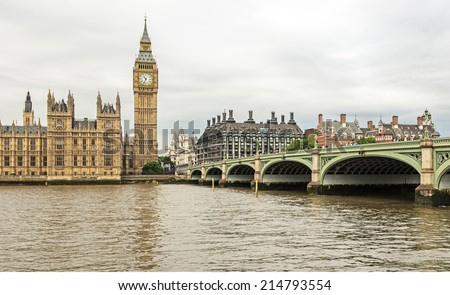 View across the River Thames of Westminster Bridge and the Houses of Parliament in London, England - stock photo