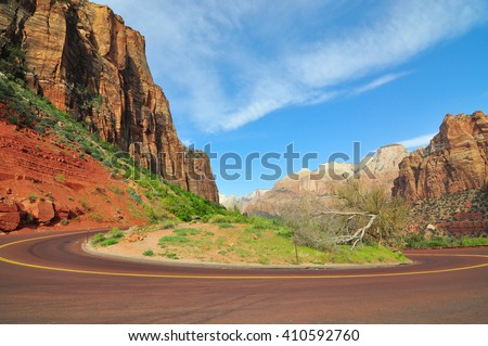 View after passed The Zion-Mount Carmel Tunnel on  Zion-Mount Carmel  Highway in Zion National Park, Utah, USA - stock photo