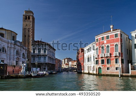 view along the cannaregio, from the grand canal in venice