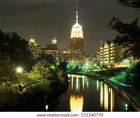 View along the Riverwalk at night, San Antonio, Texas, USA. - stock photo