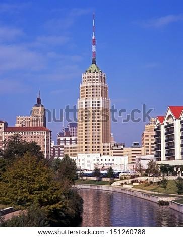 View along the Riverwalk, San Antonio, Texas, USA. - stock photo