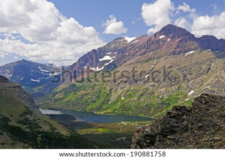View along the Scenic Point Trail in Glacier National Park - stock photo