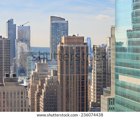 View among the skyscrapers of New York, NY, USA - stock photo