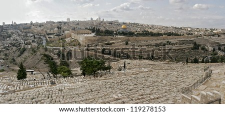 View An Old City of Jerusalem from Olive Mount, Israel