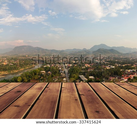 View ancient city and wood floor for background  - stock photo