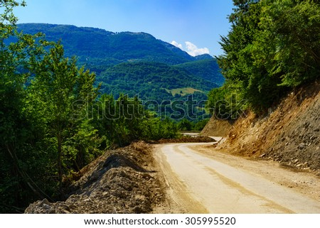 View and landscape along the M18 road in the Republika Srpska, Bosnia and Herzegovina - stock photo