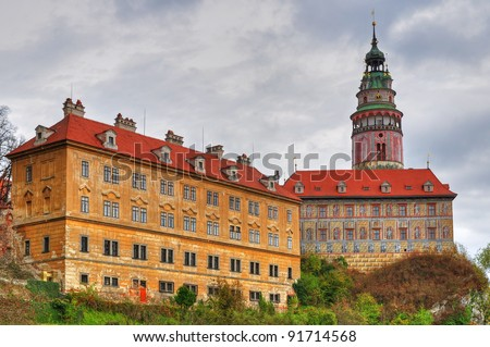 View at a castle in Cesky Krumlov during the daytime, HDR picture. - stock photo