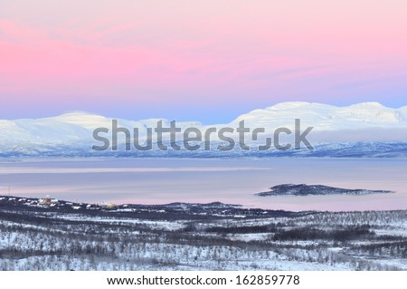 View at absiko at the lake tornestraesk, lapland, sweden - stock photo