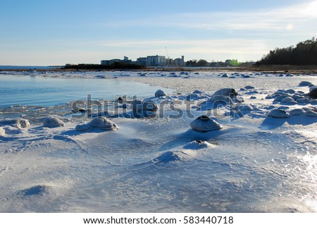 View at an icy coast of the Baltic Sea in Sweden