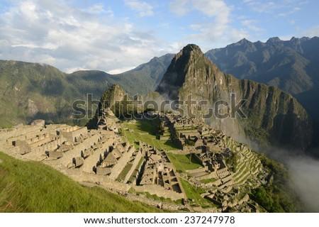 View at ancient Inca town of Machu Picchu, Peru. - stock photo