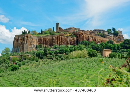 View at ancient town of Orvieto, Umbria, Italy - stock photo