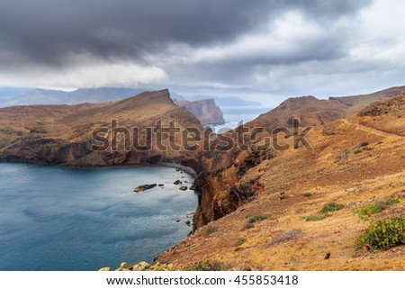 View at atlantic ocean by colorful peninsula Sao Lourenco on Madeira island, Portugal