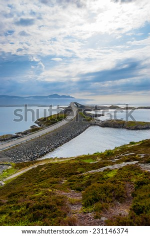 View at atlantic road Norway with dramatic sky. - stock photo