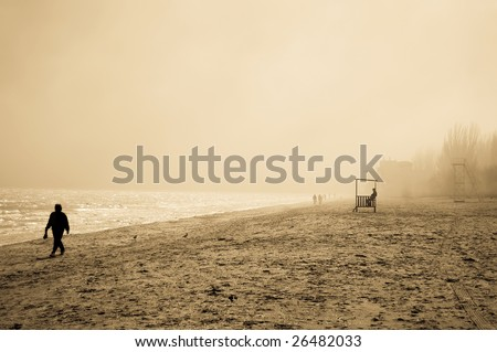 view at beach in fog - stock photo