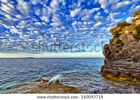 View at Bruce Peninsula, Ontario, Canada during sunset - stock photo