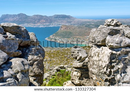 View at Cape Town from top of Table Mountain. Shot in South Africa. - stock photo