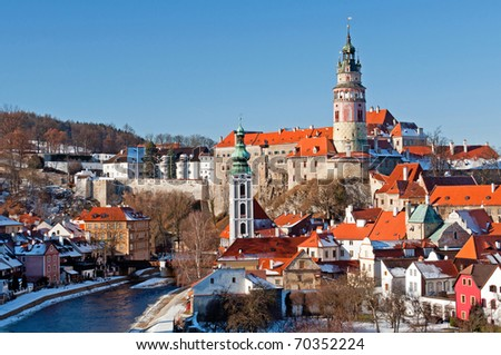 View at Cesky Krumlov, city protected by UNESCO. - stock photo