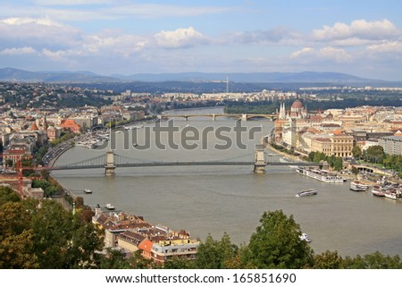View at Danube from the Gellert Hill in Budapest - stock photo