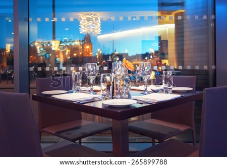view at evening Amsterdam from restaurant  - stock photo