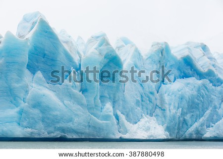 view at glacier grey in torres del paine national park, chile, from the boat at lago grey - stock photo