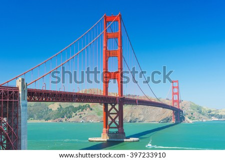 View at Golden Gate Bridge which spans Golden Gate strait at San Francisco Bay. California, USA - stock photo