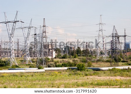 View at industrial zone of Moscow, Russia - stock photo