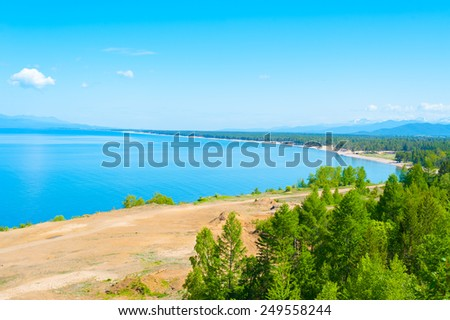 view at lake Baikal from mountain in Ust-Barguzin - stock photo