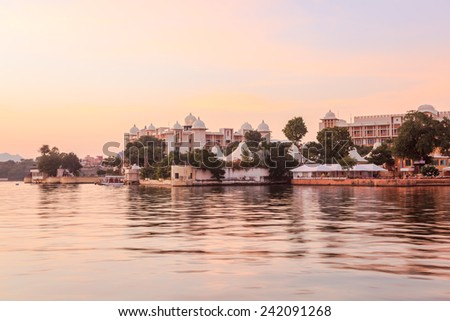 View at Lake Pichola in Udaipur, India the evening - stock photo