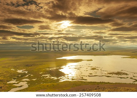 View at lakes from the Vindbelgur volcano near the lake Myvatn - northern Iceland - stock photo
