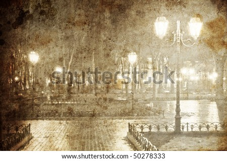 View at lights. Photo in old image style. - stock photo