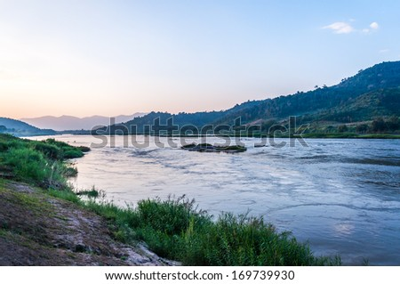 view at Mekong river in the evening - stock photo