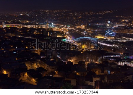 View at night Tbilisi city from above