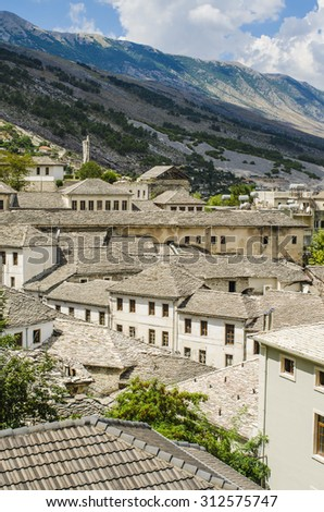 View at old city of Gjirokastra in Albania