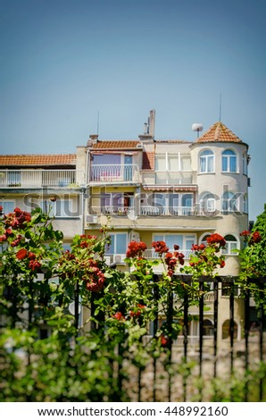 View at Old Varna Town With Roses in Summertime, Bulgaria, 2015 - stock photo