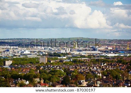 View at outskirts from Belfast Castle, Northern Ireland - stock photo