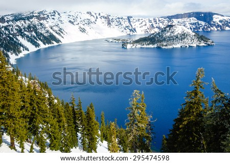 View at Overlook of Crater Lake National Park - stock photo