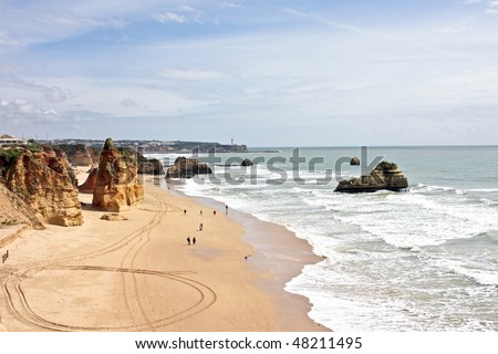 View at Praia da Rocha beach in the Algarve in Portugal