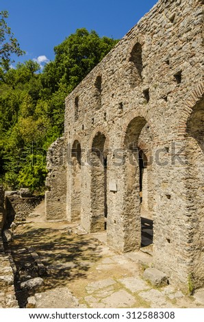 View at ruins of ancient city Butrint in Albania