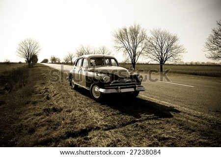 View at russian classic car 2 - stock photo