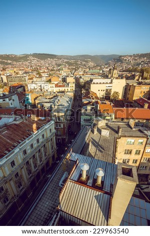 View at Sarajevo streets and buildings from high viewpoint