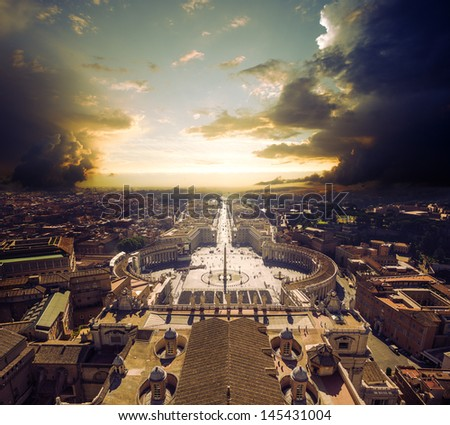 view at square in front of St. Peter's cathedral in Rome, Italy  - stock photo