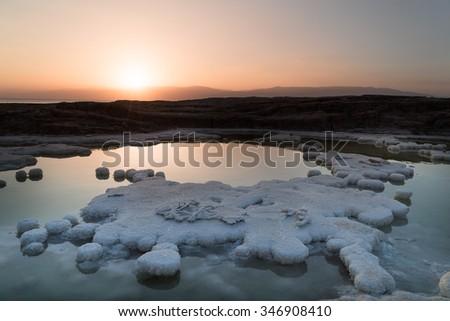 View at sunriseof the Dead Sea - stock photo