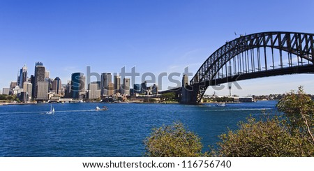 view at Sydney City CBD and harbour bridge over harbor water sunny day panorama