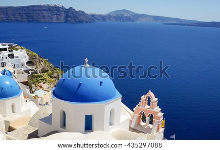 View at the Church at Santorini,  Greek island