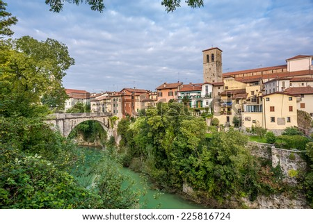 View at the Cividale del Friuli with river and bridge - Italy