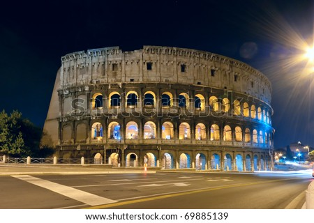 View at the colloseum at night, Rome, Italy - stock photo