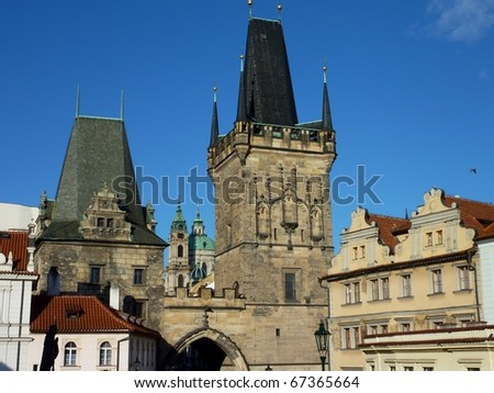 View at the district Mala Strana seen from the charles bridge in Prague in the Czech republic