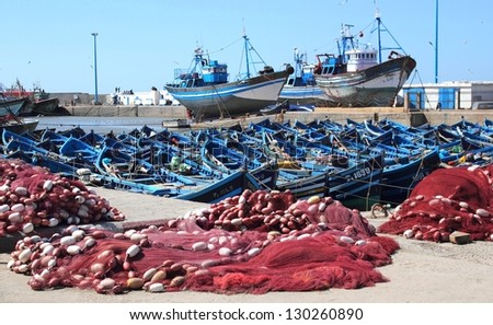 View at the fishing boats and nets from port in Essaouira, Marocco - stock photo