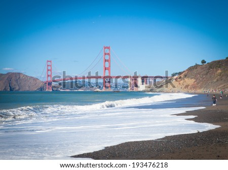 View at the Golden Gate Bridge from Baker Beach  - stock photo