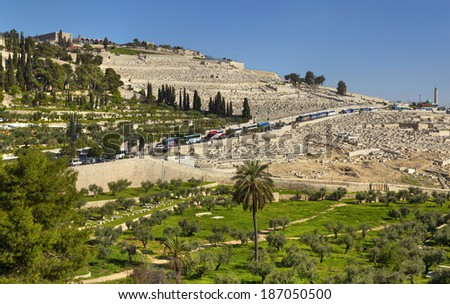 View at the Jewish cemetery and the old town in Jerusalem. Jewish cemetery for over 3,000 years. - stock photo